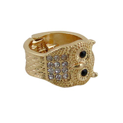 Owl Ring Gold Tone Jeweled