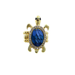 Blue Turtle Stretch Ring Jeweled