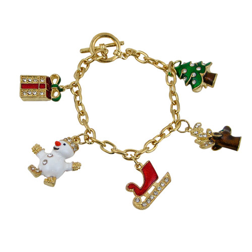 Christmas Charms Bracelet Gold Jeweled
