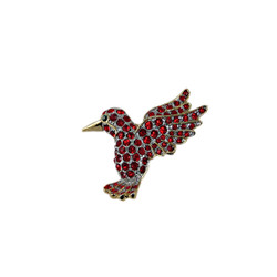 Red Bejewled Hummingbird Pin