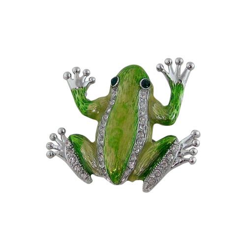 Green Tree Frog Pin Pendant Jeweled Silver