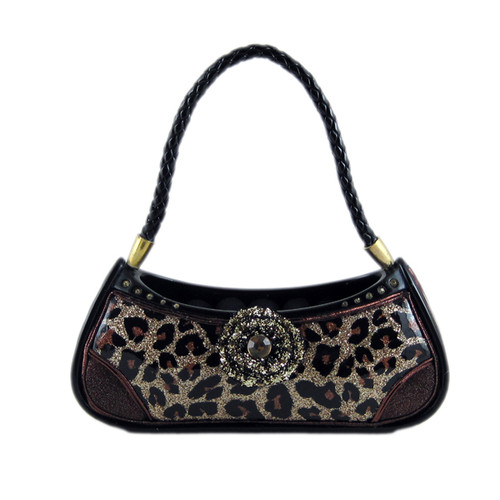 Brown Leopard Print Ring Holder Handbag