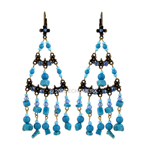 Turquoise Beads Long Earrings