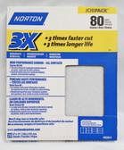 """Norton 9"""" x 11"""" Sand Paper, 3X / Premium, 80 Grit, 20 Sheets"""