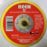 "5"" x 5/16"" Dual Action Pad Hook & Loop No Hole Keen Abrasives #54397 - Lot of 1"