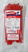 "7"" Red High Temp Plenum Air Handling Plenum Cable Zip Ties, 100pk - FREE SHIPPING"