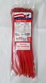 "11"" Red High Temp Plenum Air Handling Plenum Cable Zip Ties, 100pk - FREE SHIPPING"