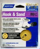 "5"" Hook & Loop 5 or 8 Hole 80 Grit 25 pack Norton - Velcro"