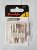 "DuraMax 1/8"" Diamond Point Set, for use with Dremel & Rotory Style Tools, 6pc set - FREE SHIPPING"