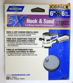 "6"" Hook & Loop 6 Hole 220 Grit 10 pack Norton 3X - Velcro Sanding Disc"