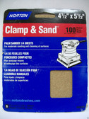 "4-1/2"" x 5-1/2"" 100 Grit 1/4 Sanding Sheets (6) sheets Norton #48301"