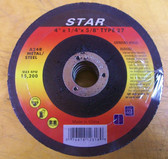 "4"" x 1/4"" x 5/8"" Grinding Wheel Type 27 Metal 60pk"
