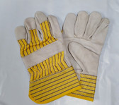 Grain Leather Palm Gloves with Cuff, One Size, Heavy Duty, 6 Pair