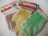 Garden Gloves Dotted Cotton - Red, Green OR Yellow Dots, 12 Pair