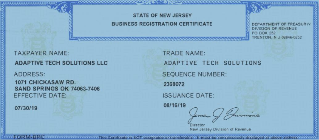 NJ Business Registration Certificate imge