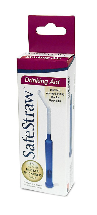 SafeStraw flow limiting straw for individuals with swallowing problems.