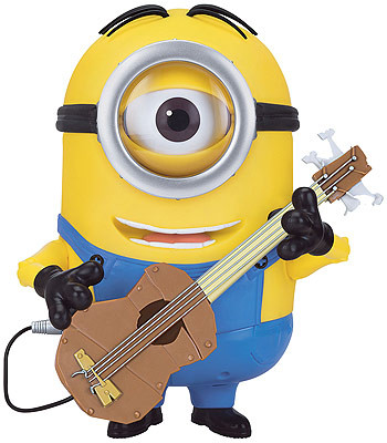 Minion Stewart rocks out with his guitar. Switch adapted so people with disabilities can play.