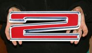"""GM CHEVY RED NUMBER """"2"""" – FLAT STEEL SIGN 12"""" X 5"""""""