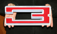 """GM CHEVY RED NUMBER 3 – FLAT STEEL SIGN 12"""" X 5"""""""