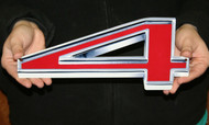 """GM CHEVY RED NUMBER 4 – FLAT STEEL SIGN 12"""" X 5"""""""