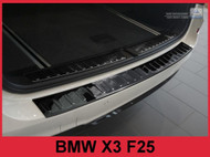 2015-2017 BMW X3  - Polished Black Stainless Steel Rear Bumper Protector