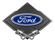 Ford Blue Oval Black Carbon Diamond Metal Art Wall Sign - 25x19 BLFordOvalD25x19