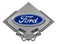 Ford Blue Oval Silver Carbon Diamond Metal Art Wall Sign - 25x19