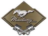 Mustang Pony and script Bronze Carbon Diamond Metal Art Wall Sign - 25x19