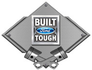 Built Ford Tough Silver Carbon Diamond Metal Art Wall Sign - 25x19