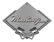Ford Mustang Script Silver Carbon Diamond Metal Art Wall Sign - 25x19