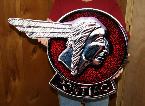 Vintage Pontiac Chief Head Emblem / Metal Art Sign (Large 25x18)