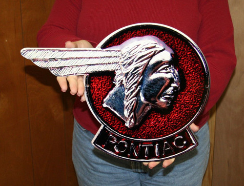 Vintage Pontiac Chief Head Emblem / Metal Art Sign (Small 16x12)
