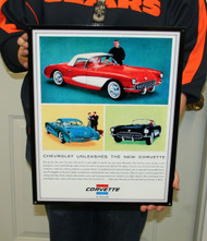 Chevrolet Unleashes New CORVETTE / Metal Art Sign (18x14)