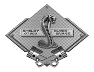 Shelby Cobra GT500 Super Snake Silver Carbon Diamond Metal Art Wall Sign - 25x19