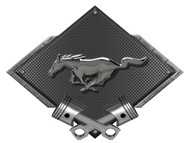 Mustang Pony Black Chrome Look Black Carbon Metal Sign
