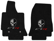 C7 Corvette Floor Mats - Lloyds Mats with Jake Skull Logo and C7R Script: Jet Black