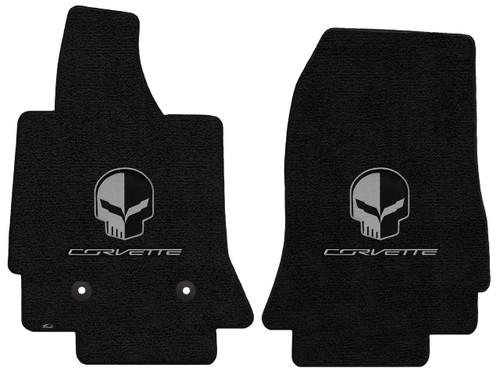 C7 Corvette Floor Mats - Lloyds Mats with Jake Skull Logo and Corvette Script: Ultimat Jet Black