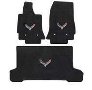 C7 Corvette Stingray (Convertible) Cargo Mat  -  Ultimat Lloyds Mats with C7 Crossed Flags: Jet Black