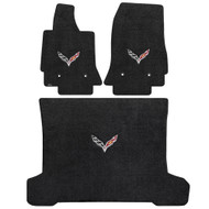 C7 Corvette Stingray (Coupe) Cargo and Foor Mat Set  - Lloyds Mats with C7 Crossed Flags: Ultimat Jet Black