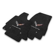 C7 Corvette Stingray Floor Mats - Lloyds Mats with C7 Crossed Flags & Corvette Script : Jet Black