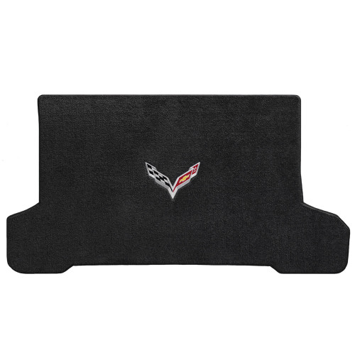 C7 Corvette Stingray (Convertible) Cargo Mat  -  Ultimat Lloyds Mats with C7 Crossed Flags:  Ultimat Jet Black