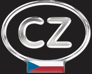 Czech Resin CZ Country Decal Badge with Flag