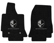 C7 Corvette Floor Mats - Lloyds Mats with Jake Skull Logo and Stingray Script: Ultimat - Jet Black