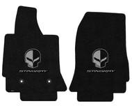 C7 Corvette Floor Mats - Lloyds Mats with Jake Skull Logo and Stingray Script: Ultimat - Jet Black