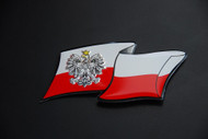 Polish Poland Aluminum PL Country Badge Sticker with Eagle and Flag