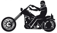 Chopper Motorcycle Rider Decal Sticker