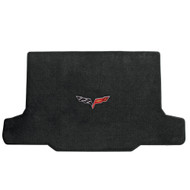 2005-2013 C6 Corvette Convertible Cargo Mat with Crossed Flags Logo - Lloyds Mats: Ultimat - Ebony 600014