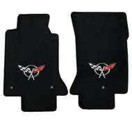 1997-2004 C5 Corvette 2 Piece Floor Mats with Crossed Flags Logo - Lloyds Mats: Ultimat - Black (600016)