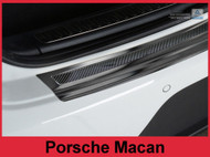 2014 + Porsche Macan - Carbon Fiber & Graphite Brushed Stainless Steel Rear Bumper Protector