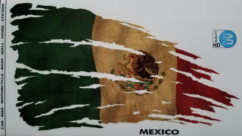Mexico Flag Decal Sticker - Tattered and Distressed Look